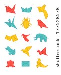 colorful origami vector set | Shutterstock .eps vector #177528578