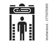 metal detector black glyph icon....