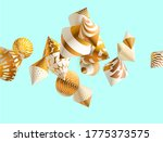 Decorative 3d Golden Cones On...