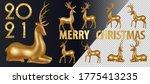 big set gold deer. merry...   Shutterstock .eps vector #1775413235