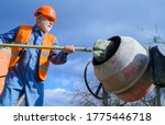 Construction Worker With Spade...