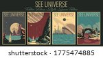 see universe retro future style ... | Shutterstock .eps vector #1775474885