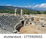 Antique ancient Xanthos ruins. Amphitheater, Harpy monument, UNESCO world heritage