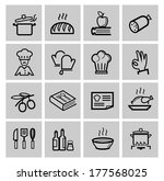 vector black kitchen icons set | Shutterstock .eps vector #177568025