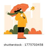 autumn illustration with woman... | Shutterstock .eps vector #1775703458