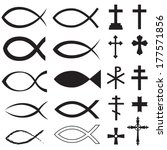 set christian fish symbol and... | Shutterstock .eps vector #177571856