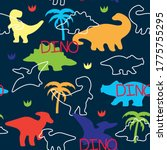 seamless colorful dinosaurs... | Shutterstock .eps vector #1775755295