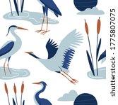 blue crane seamless pattern.... | Shutterstock .eps vector #1775807075