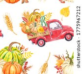 Watercolor Red Harvest Truck...