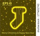 christmas sock in circuit board ...   Shutterstock .eps vector #177601742