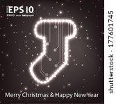 christmas sock in circuit board ... | Shutterstock .eps vector #177601745