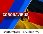 NEWS of coronavirus COVID-2019 on Deutschland country flag background. Deadly type of corona virus 2019-nCoV. 3D rendering of coronavirus bacteria. Deutschland flag illustration in NEWS style,