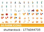 60 farm icons set. cartoon... | Shutterstock .eps vector #1776044735
