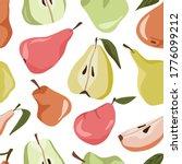 pears vector seamless pattern.... | Shutterstock .eps vector #1776099212