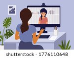 video call with psychologist... | Shutterstock .eps vector #1776110648