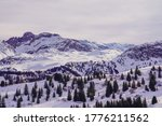 Small photo of Mountains in La Tania, Mountain tops and beautiful skies. Magnificent background
