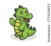Cute Crocodile Mascot Vector...