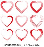 collection of red hearts.... | Shutterstock .eps vector #177623132
