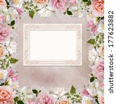 border of roses  lace and frame ... | Shutterstock . vector #177623882