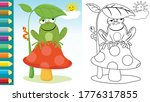 Cartoon Of Frog Sitting On...