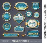 blue and golden promo stickers... | Shutterstock .eps vector #177639788