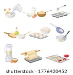 baking process with doughing... | Shutterstock .eps vector #1776420452
