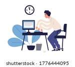 stressed multitasking man... | Shutterstock .eps vector #1776444095