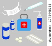 first aid kit box with medical... | Shutterstock .eps vector #1776448358