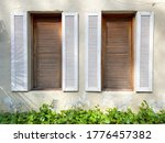 Double Wooden Window On The...