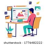 graphic designer creating his... | Shutterstock .eps vector #1776482222