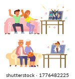 happy young and elderly couples ... | Shutterstock .eps vector #1776482225