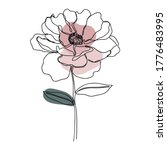 Rose Icon Line Art. Abstract...