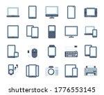 devices flat icon set....