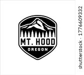 Mount Hood In A Badge With A...