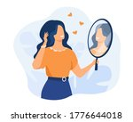 happy woman looking at herself... | Shutterstock .eps vector #1776644018