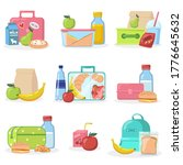 school lunchboxes with snacks... | Shutterstock .eps vector #1776645632