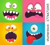 cartoon monster faces set.... | Shutterstock . vector #1776671045