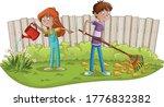 boys and girl gardening. kids... | Shutterstock .eps vector #1776832382