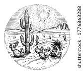 hand drawn desert circle vector.... | Shutterstock .eps vector #1776863288