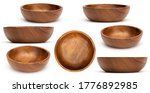 Empty wooden bowls isolated on...