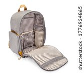 Small photo of Retro Vintage Canvas Nylon Mini Backpack Isolated. Modern Open Diaper Bag with Leather Trim. Camping Daypack Side Front View. Travel Back Pack with Shoulder Straps & Haul Loop