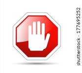 vector hand sign no entry | Shutterstock .eps vector #177695252