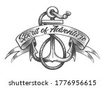 anchor with ropes and banner... | Shutterstock .eps vector #1776956615