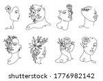set linear woman portraits....   Shutterstock .eps vector #1776982142