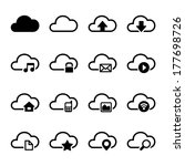 cloud storage icons set | Shutterstock .eps vector #177698726