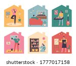 people who have various hobbies ... | Shutterstock .eps vector #1777017158