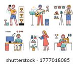 people who enjoy various... | Shutterstock .eps vector #1777018085
