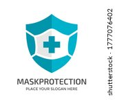 shield with mask vector logo... | Shutterstock .eps vector #1777076402