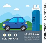 electric station and blue car... | Shutterstock .eps vector #1777094138