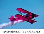 Pink retro airplane biplane...